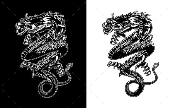 Chinese Dragon Tattoo or Lunar New Year Symbol