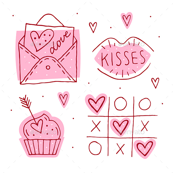 St.Valentine`s Day Doodle Set Of Elements, Clipart, Stickers.
