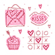 St.Valentine`s Day Doodle Set Of Elements, Clipart, Stickers. - GraphicRiver Item for Sale