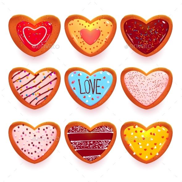 Gingerbread Cookies Cartoon Sweets in Heart Shape