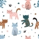 Childish Seamless Pattern with Cute Cat - GraphicRiver Item for Sale