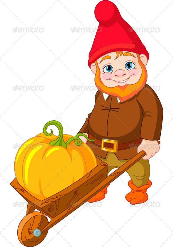 Garden Gnome with wheelbarrow