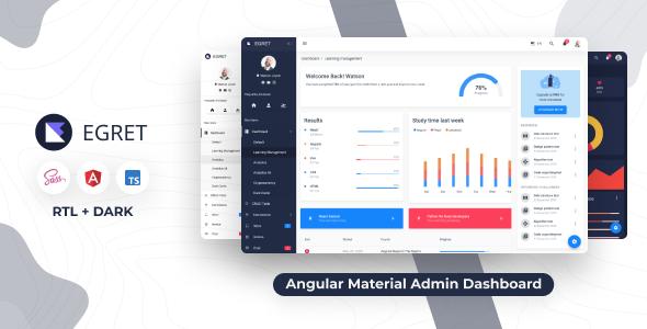 Egret - Angular 8+ Szablon administratora projektu materiału