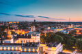 Vilnius, Lithuania, Eastern Europe. Aerial View Of Historic Center Cityscape In Blue Hour After - PhotoDune Item for Sale