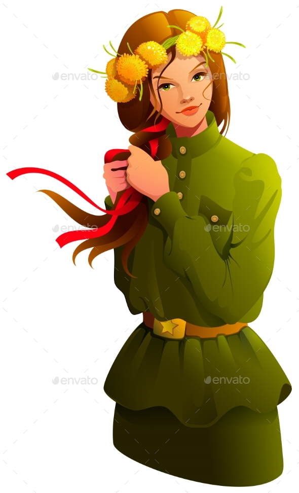 Victory Day Russian Girl Young Woman in Soldier Uniform