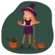 A Nice Girl in a Witch Costume Stands and Holds a Broom and a Pumpkin - GraphicRiver Item for Sale