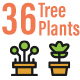 36 Tree and Plant Flat Line Icons - GraphicRiver Item for Sale