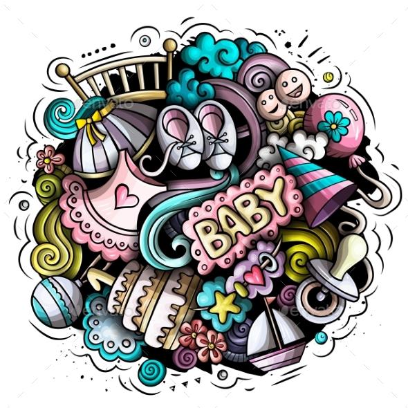 Baby Cartoon Doodle Illustration