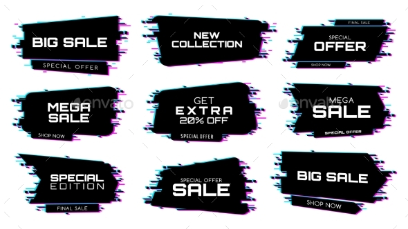 Sale Labels with Glitch Effect Vector Icons