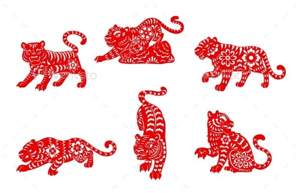 Zodiac Tiger Animal Icons Chinese Zodiac Signs