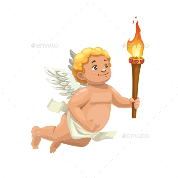 Cupid Character with Torch Valentines Day Angel