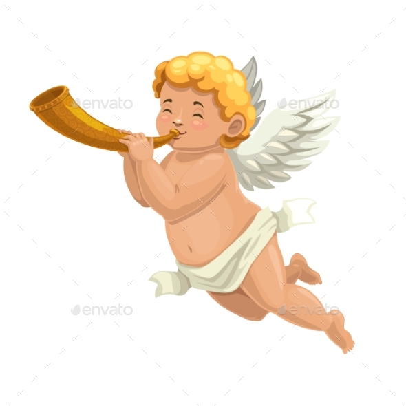 Cupid Angel or Amur Character Blowing Horn