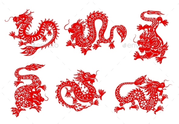 Zodiac Horoscope Dragon Papercut Animals