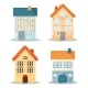 Set of Cute Houses on White Background - GraphicRiver Item for Sale