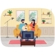 Friendly Family Playing Video Games at Home - GraphicRiver Item for Sale