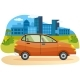 Modern Car Parking Along Town Street in Cartoon - GraphicRiver Item for Sale
