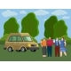 Friends Come By Truck to Forest - GraphicRiver Item for Sale
