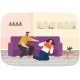 Drunk Man Scolding His Wife While Drinking Booze - GraphicRiver Item for Sale