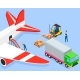 Man Puts Boxes on Conveyor Belt in Airplane - GraphicRiver Item for Sale