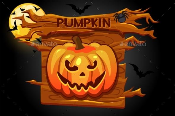 Halloween Pumpkin Icon Wooden Banner for Game
