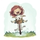 Girl Rides A Bike - GraphicRiver Item for Sale