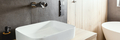 Double sinks in elegant white, concrete and wooden bathroom interior - PhotoDune Item for Sale