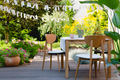 Wooden table in the garden - PhotoDune Item for Sale