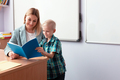 Young beautiful teacher sits at a desk in class and talks to a new student - PhotoDune Item for Sale