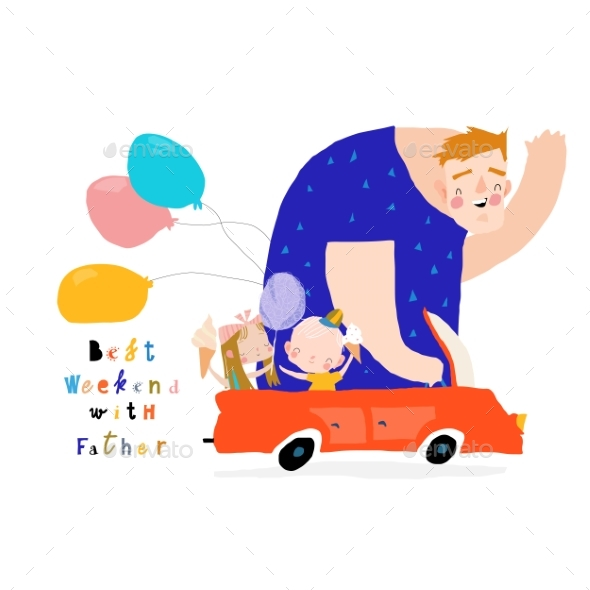 Father with His Children Driving By Car