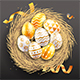 Happy Easter Day Easter Eggs on Egg Nest - GraphicRiver Item for Sale
