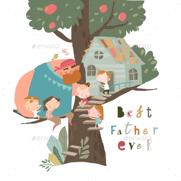 Happy Father Playing with Children on Treehouse