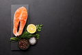 Fresh raw salmon cooking. Fish steak with herbs and spices - PhotoDune Item for Sale