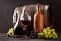 Wine bottle, decanter, glass and old wooden barrel - PhotoDune Item for Sale