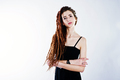 Studio shoot of girl in black with dreads on white background. - PhotoDune Item for Sale