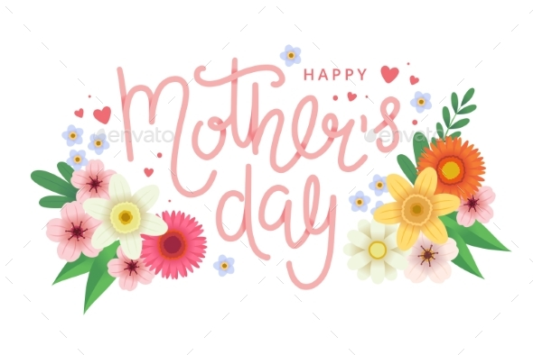 Mother s Day Greeting Card with Flowers