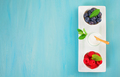 Yogurt with blueberries and raspberies - health and diet concept. Balanced healthy breakfast idea - PhotoDune Item for Sale