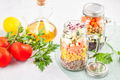 Fresh homemade salad in jars with quinoa, chickpeas and organic vegetables. Healthy food, vegeterian - PhotoDune Item for Sale