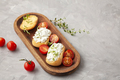 Italian appetizer toasted bread bruschetta with cream cheese, tomatoes. Delicious and healthy meal - PhotoDune Item for Sale