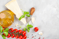 Bunch of fresh basil, tomatoes, parmesan cheese, garlic and olive oil - PhotoDune Item for Sale