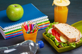 Fresh sandwich and apple for healthy lunch in the plastic lunch box - PhotoDune Item for Sale