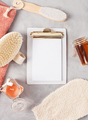 Various spa related objects on gray background, top view - PhotoDune Item for Sale