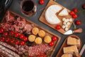 Appetizers table with differents antipasti, cheese, charcuterie, snacks and wine. Mini burgers - PhotoDune Item for Sale