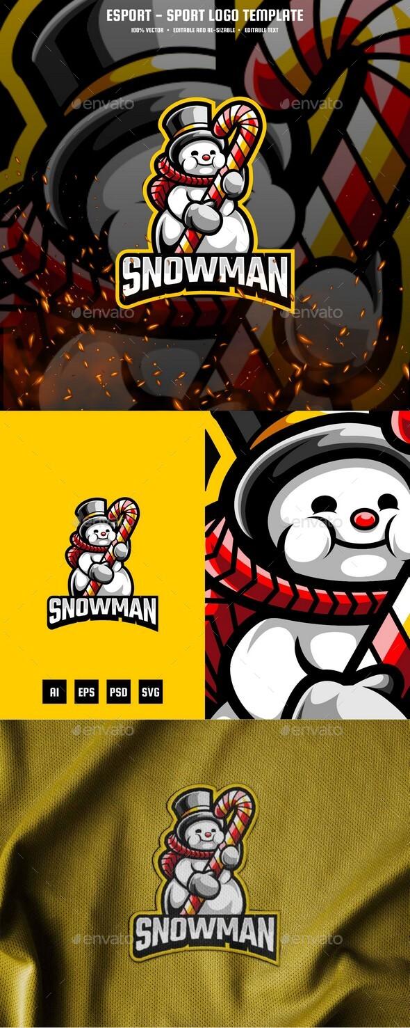 Cubby Snowman E-sport and Sport Logo Template