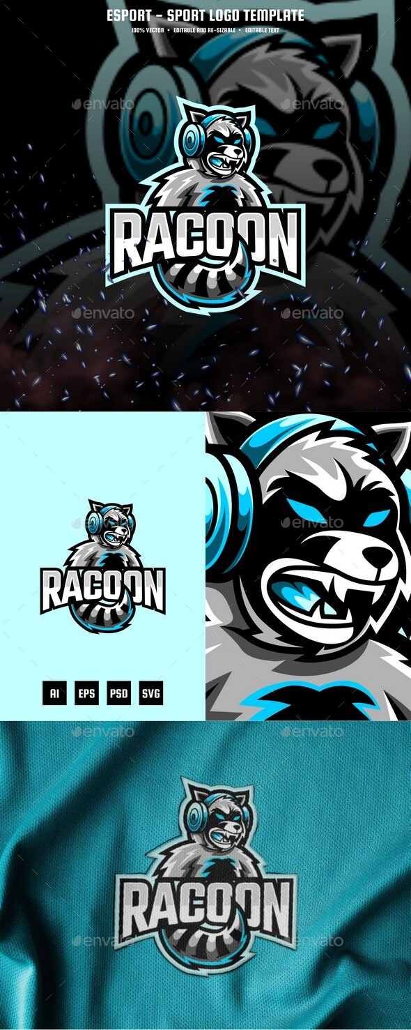 Racoon E-sport and Sport Logo Template