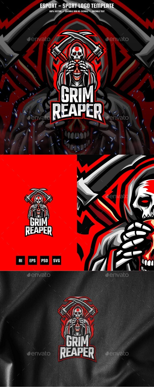 Grim Reaper E-sport and Sport Logo Template