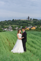 couple in wedding attire is standing on a green field on the background of the village at sunset. - PhotoDune Item for Sale