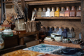 color painter artist's workspace, water color tools on desk of painter. - PhotoDune Item for Sale