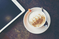 morning time with coffee latte art and tablet, vintage filter image - PhotoDune Item for Sale