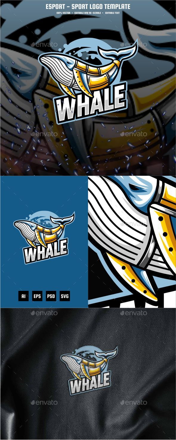 Whale E-sport and Sport Logo Template