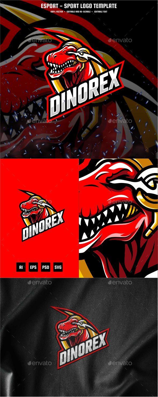Dinosaur T-Rex E-sport and Sport Logo Template